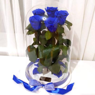Букет пять синих роз в колбе Lerosh - Elite 43 см