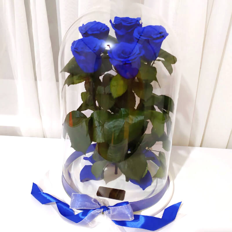 Bouquet of five blue roses in a flask Lerosh - Elite 43 cm