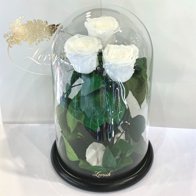 Bouquet three white roses in a flask Lerosh - Grand 33 cm