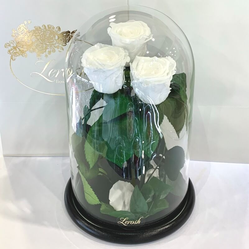 Bouquet three white roses in a flask Lerosh - Grand 33 cm