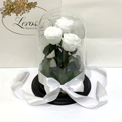 Букет три білі троянди в колбі Lerosh - Classic 27 см