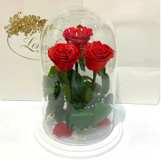 Bouquet three red roses in a flask Lerosh - Grand 33 cm on a white stand