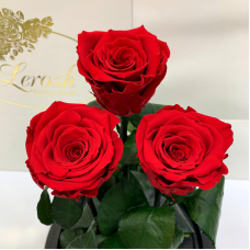 Bouquet three red roses in a flask Lerosh - Grand 33 cm