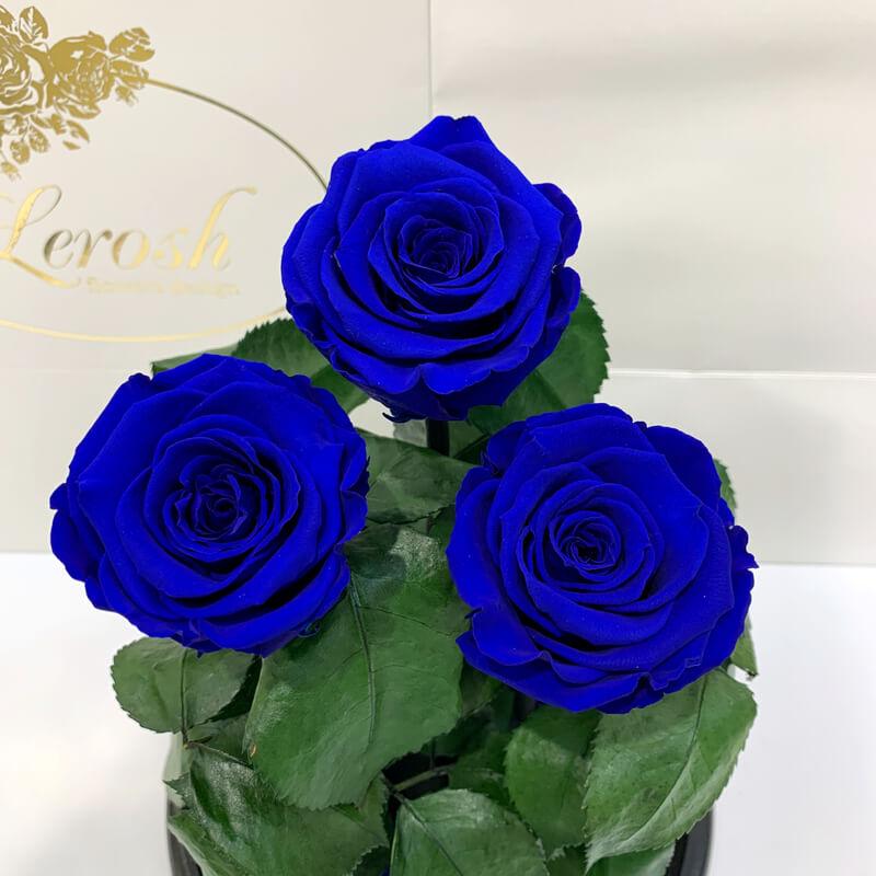 Букет три сині троянди в колбі Lerosh - Grand 33 см