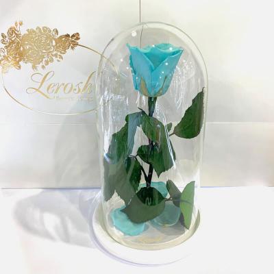 Бірюзова троянда в колбі Lerosh - Classic 27 см ORIGINAL