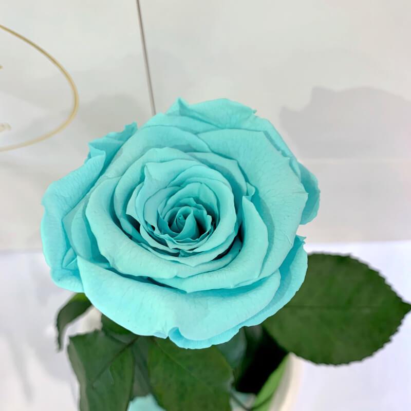 Бірюзова троянда в колбі Lerosh - Classic 27 см