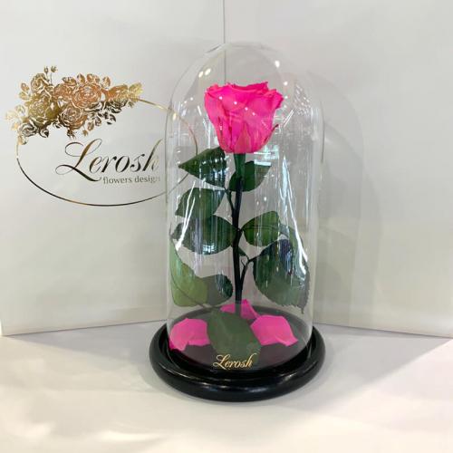 Ярко-розовая Фуксия роза в колбе Lerosh - Classic 27 см ORIGINAL
