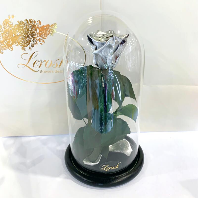 Срібна троянда в колбі Lerosh - Classic 27 см