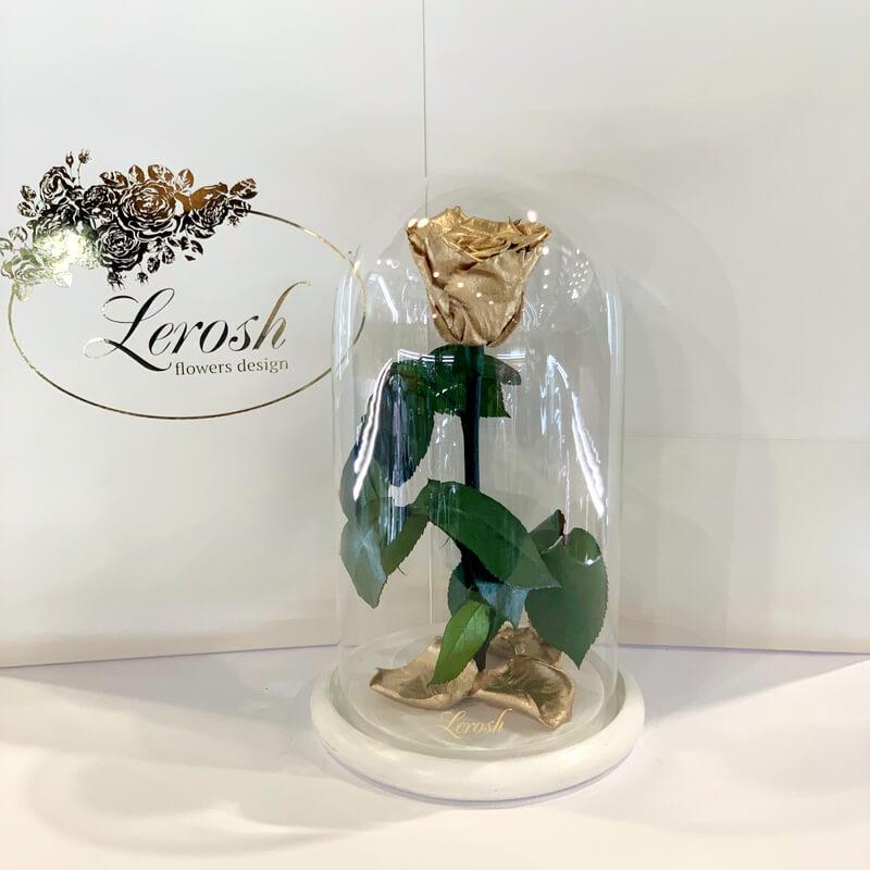 Золота троянда в колбі Lerosh - Classic 27 см білій підставці