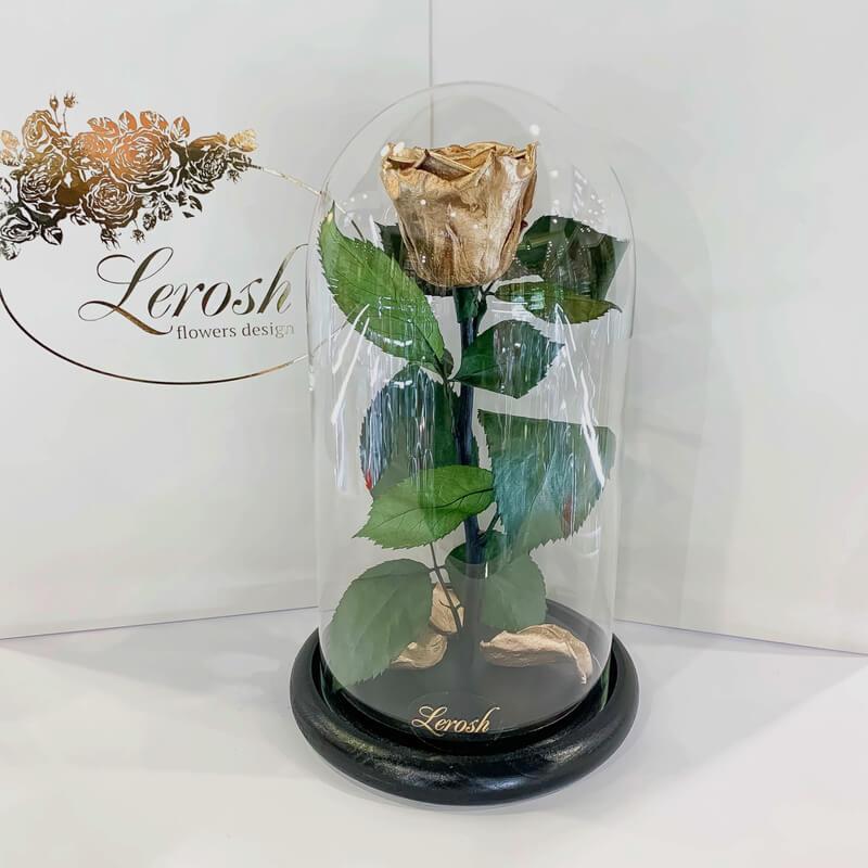 Gold Eternal Rose in Flask Lerosh - Classic 27 cm