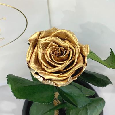 Золота троянда в колбі Lerosh - Classic 27 см  ORIGINAL