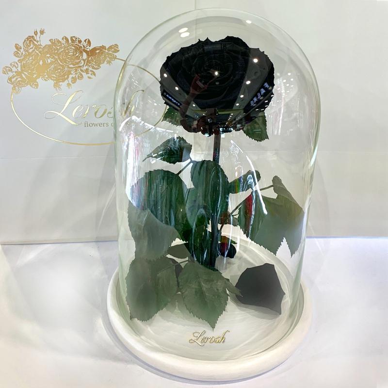 Чорна троянда в колбі Lerosh - Lux 33 см