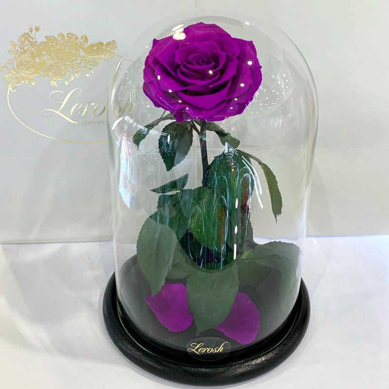 Фіолетова троянда в колбі Lerosh -  Lux 33 см