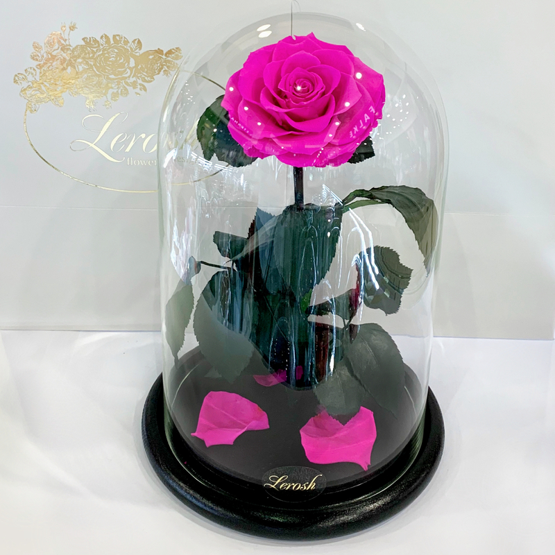 Яскраво-рожева Фуксія троянда в колбі Lerosh - Lux 33 см