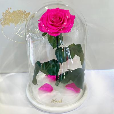 Ярко-розовая Фуксия роза в колбе Lerosh - Lux 33 см на белой подставке