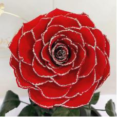 Червона Блискуча троянда в колбі Lerosh - Lux 33 см
