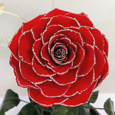 КраснаяБлестящая роза в колбе Lerosh - Lux 33 см
