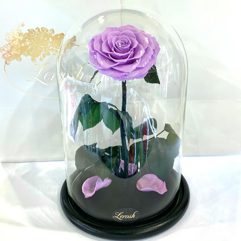 Лілова троянда в колбі Lerosh - Lux 33 см