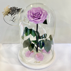Лілова троянда в колбі Lerosh - Lux 33 см на білій підставці