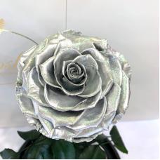 Срібна троянда в колбі Lerosh - Lux 33 см