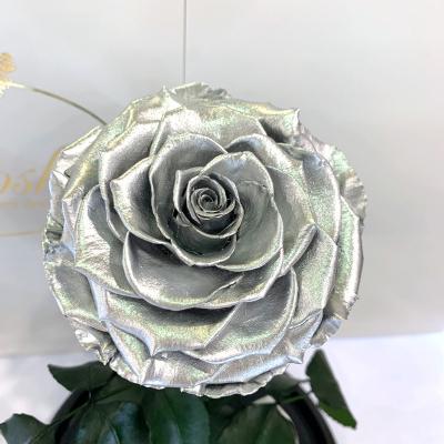 Срібна троянда в колбі Lerosh - Lux 33 см ORIGINAL