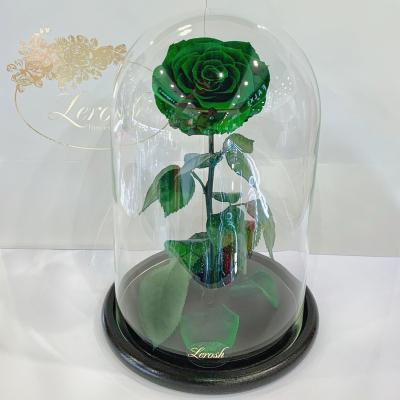 Зелена троянда в колбі Lerosh - Lux 33 см ORIGINAL