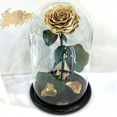 Золотая роза в колбе Lerosh - Lux 33 см