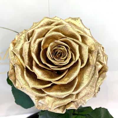 Золота троянда в колбі Lerosh - Lux 33 см  ORIGINAL
