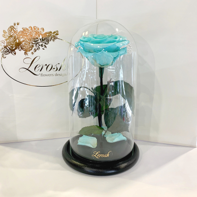 Бірюзова троянда в колбі Lerosh - Premium 27 см ORIGINAL