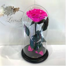 Яскраво-рожева Фуксія троянда в колбі Lerosh - Premium 27 см