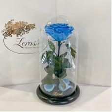 Блакитна троянда в колбі Lerosh - Premium 27 см