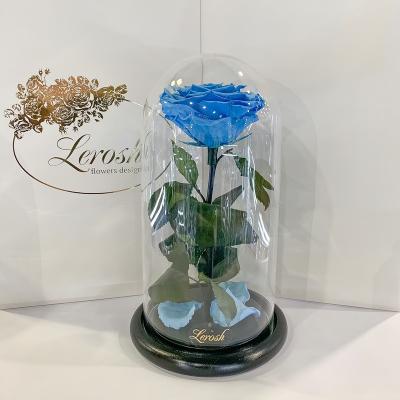 Блакитна троянда в колбі Lerosh - Premium 27 см ORIGINAL