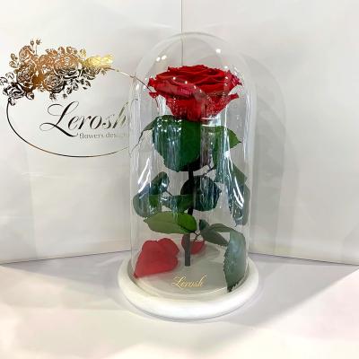 Краснаяроза в колбе Lerosh - Premium 27 см на белой подставке ORIGINAL
