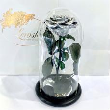 Срібна троянда в колбі Lerosh - Premium 27 см