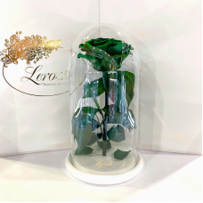 Зелена троянда в колбі Lerosh - Premium 27 см