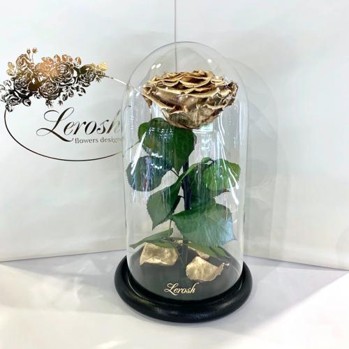 Золотая роза в колбе Lerosh - Premium 27 см  ORIGINAL