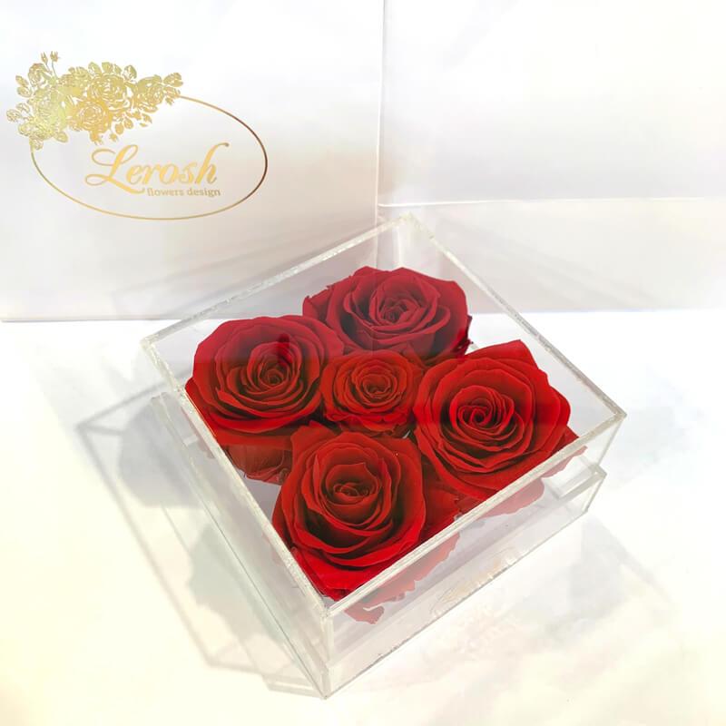 Красные стабилизированные бутоны розы в подарочной коробке Lerosh 5 шт - Classic