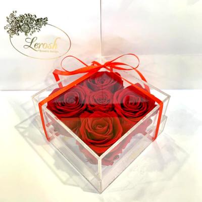 Червоні стабілізовані бутони троянди в подарунковій коробці Lerosh 5 шт - Classic ORIGINAL
