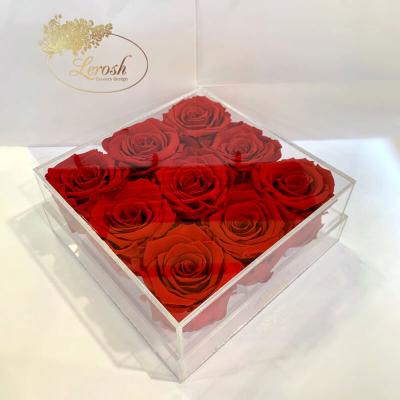 Красные стабилизированные бутоны розы в подарочной коробке Lerosh 8 шт - Classic