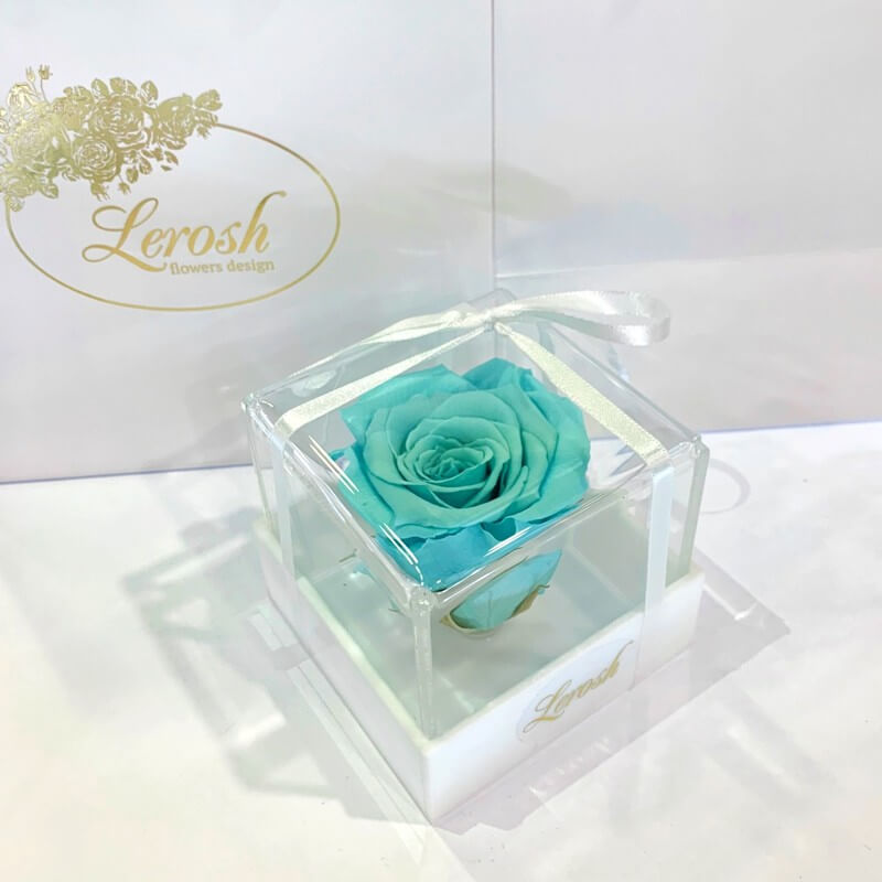Бірюзовий стабілізований бутон троянди в подарунковій коробці Lerosh - Classic
