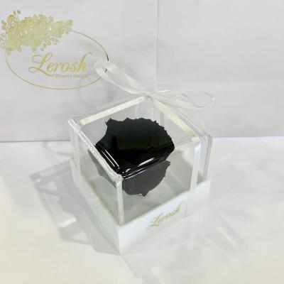 Чорний стабілізований бутон троянди в подарунковій коробці Lerosh - Classic ORIGINAL
