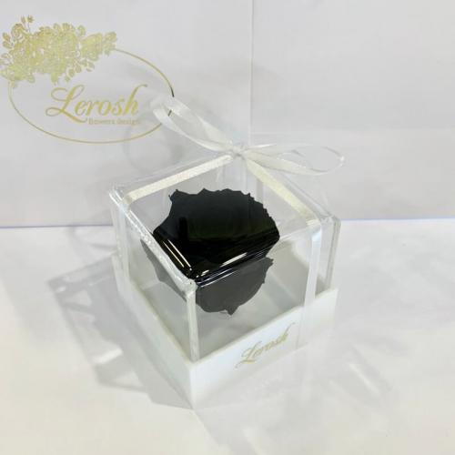Черный стабилизированный бутон розы в подарочной коробке Lerosh - Classic ORIGINAL