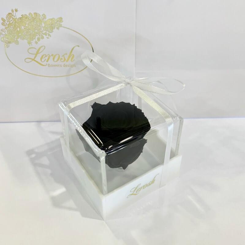 Чорний стабілізований бутон троянди в подарунковій коробці Lerosh - Classic