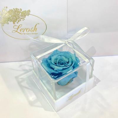 Блакитний стабілізований бутон троянди в подарунковій коробці Lerosh - Classic ORIGINAL