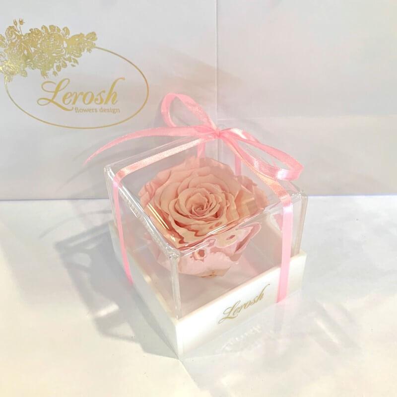 Розовый стабилизированный бутон розы в подарочной коробке Lerosh - Classic