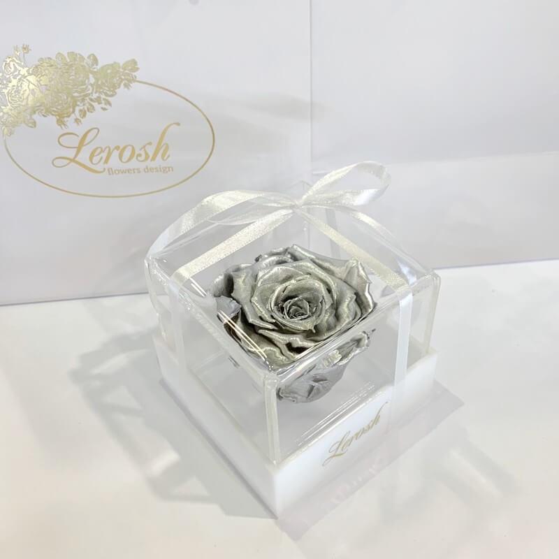 Серебряный стабилизированный бутон розы в подарочной коробке Lerosh - Classic
