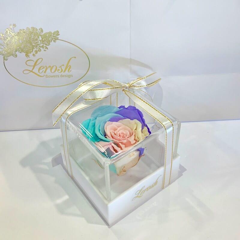 Нежный радужный стабилизированный бутон розы в подарочной коробке Lerosh - Classic