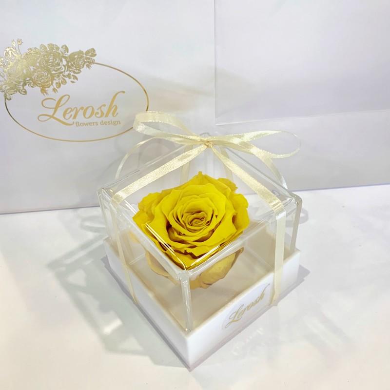 Желтый стабилизированный бутон розы в подарочной коробке Lerosh - Classic