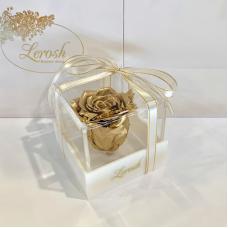 Золотий стабілізований бутон троянди в подарунковій коробці Lerosh - Classic