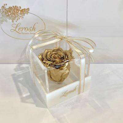Золотий стабілізований бутон троянди в подарунковій коробці Lerosh - Classic ORIGINAL